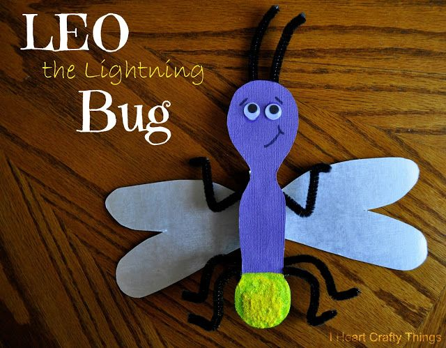 "I Heart Crafty Things: Lightning Bug Craft made out of a clothespin to go along with the award-winning book ""Leo the Lightning Bug"". Link to the pattern is in the post."