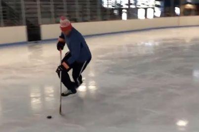 Badger alumni and Wisconsinite, JJ Watt playing hockey!