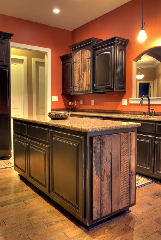 custom barnwood accented and black distressed kitchen cabinets