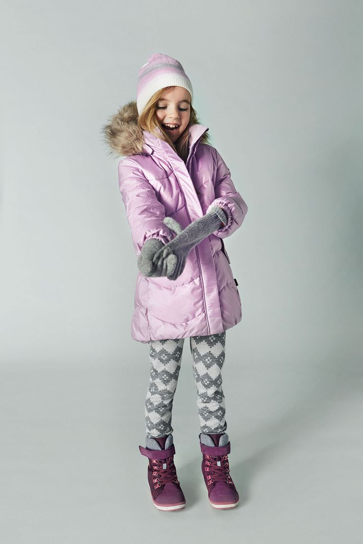 "If your girl loves pink, dress her up in Reima's long, pink ""Sula"" winter jacket, pink ""Unessa"" beanie, and purple ""Freddo"" shoes."