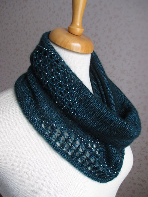 stitcherywitchery: Intermezzo – a free pattern for a lacy, beaded knit cowl by Rahymah.