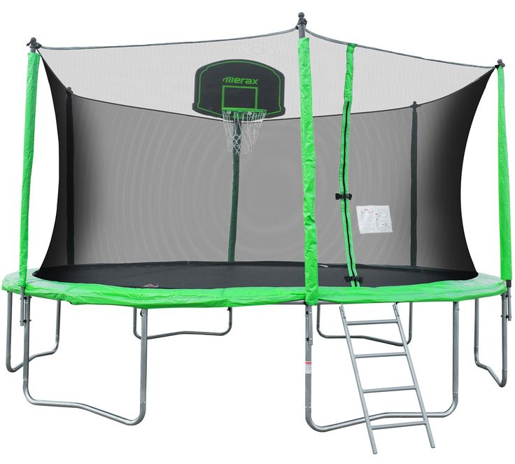 Merax 14' Trampoline with Basketball Hoop, Safety Enclosure and Ladder