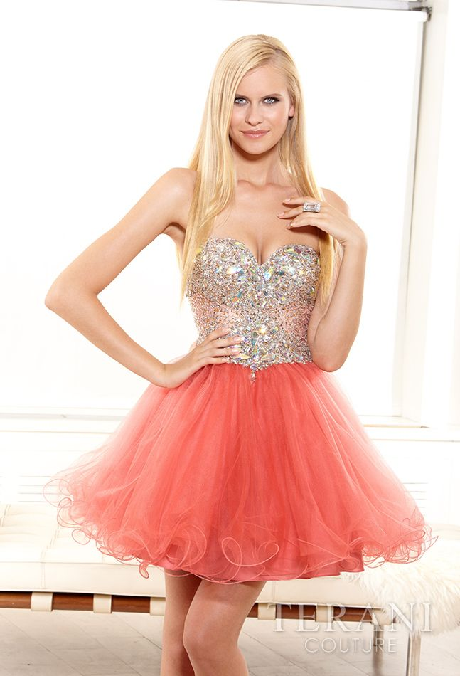 Coral Pink Short Prom Dresses