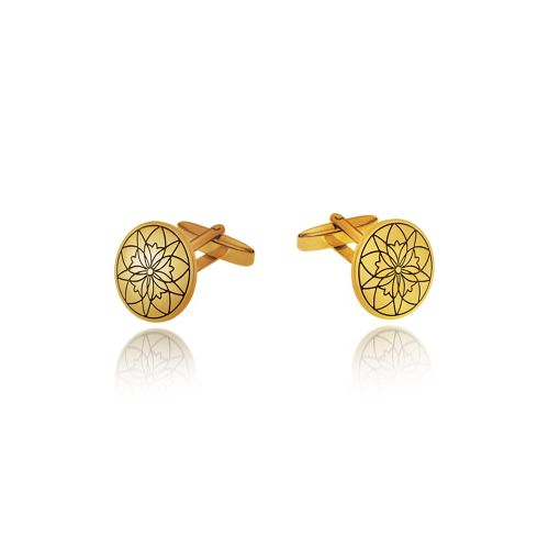"""Cufflinks Love Charm 2015 """"Centaurea"""" in 18KT yellow gold."""