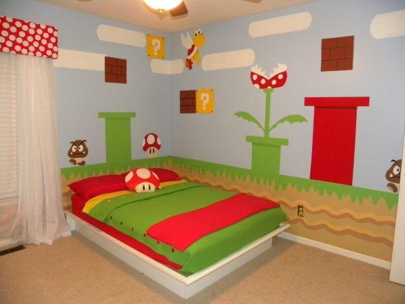 Mario brothers bedroom decor mario bros boys room for Brothers bedroom ideas