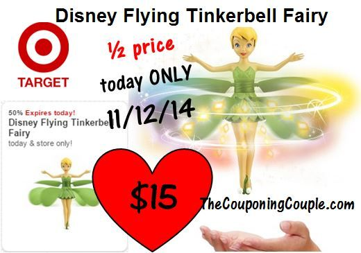 Flying Tinkerbell Fairy ~ Target Half Price Toy Deal just $15 TODAY ONLY ► http://www.thecouponingcouple.com/half-off-target-toy-deal-for-1112-only-15-disney-flying-tinkerbell/ Visit us at http://www.thecouponingcouple.com for more great posts!