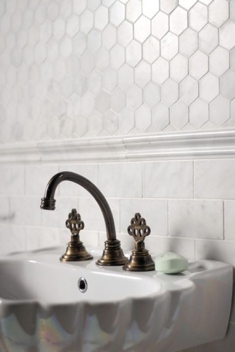 Powder Room. Subway + Hexagon Marble Tile