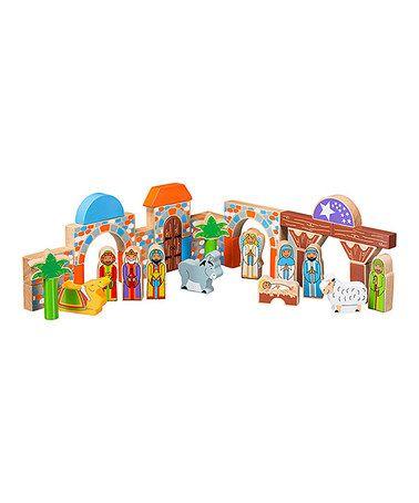 Loving this Nativity Wood Building Block Set on #zulily! #zulilyfinds
