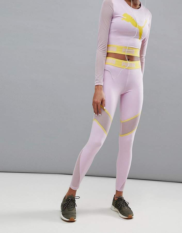 f1fd9ad7a1fe $64 | Puma Exclusive To Asos Mesh Panel Legging In Lilac | Women's Clothes  | Yoga Leggings | yoga pants | yoga tights | workout attire | workout  leggings ...