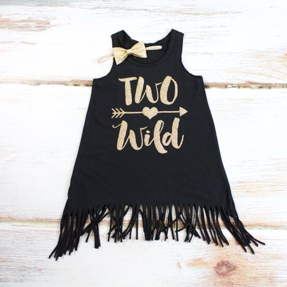 Girl's 2nd Birthday 'Two Wild' Fringe Dress | Complete Outfit | 'Two Wild' Black Fringe Tank Dress w/ Gold Arrow | Glitter Gold by OliveLovesApple