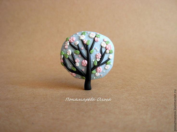 Купить Пора цветения. Брошь - дерево, деревце, яблоня, яблоня в цвету, брошь дерево, весна