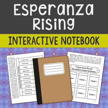 Esperanza Rising by Pam Munoz Ryan. Interactive Notebook Novel Study – Low Prep and Stress-Free.  This unit includes vocabulary terms, poetry, author biography research, themes, character traits, one-sentence chapter summaries, and note taking activities.