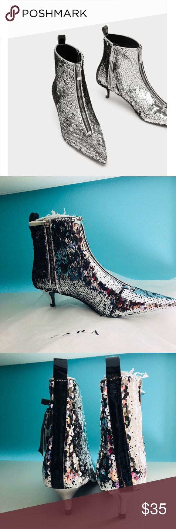 "Zara sequined silver ankle boot size 6 Zara sequined silver ankle boot size 6. Heel height 1.77"" Note sequins gets flipped it will look like a different shade. Just like a mermaid pillow. Euro size 36 US 6 Zara Shoes Ankle Boots & Booties"