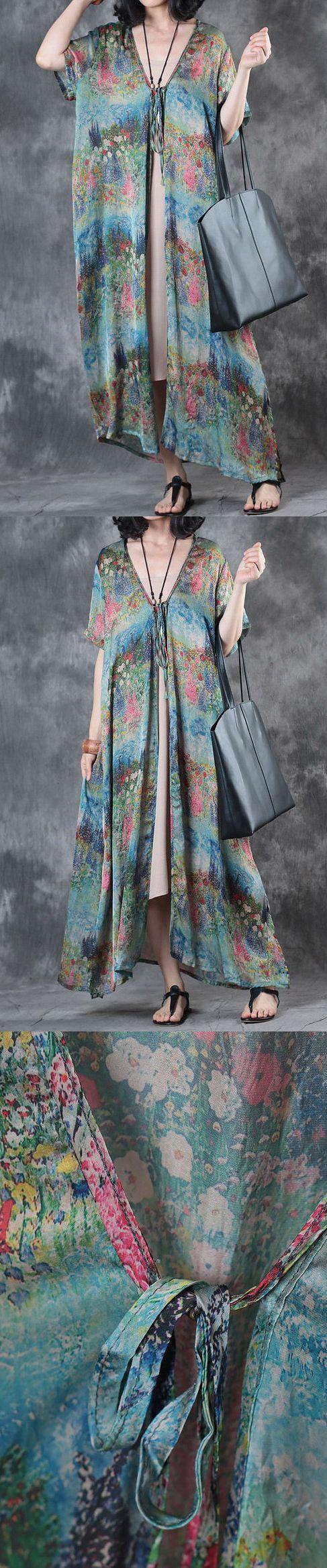 blue print silk dresses plus size casual women sundress short sleeve cardigans maxi dress