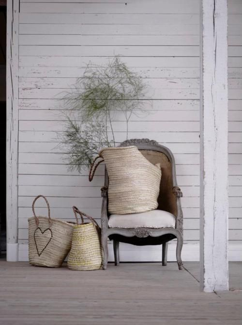 There are so many ways to use beautiful and interesting shaped baskets  around the house. I just got some new Market Baskets in the shop and I just  love all of the different ways you can use them or any basket for that  matter. Great for firewood, pillows and extra throws, flowers or for really