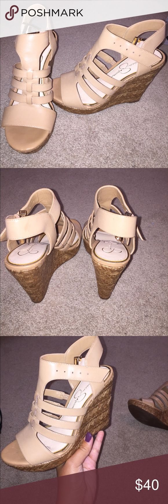 Jessica Simpson wedges 4 inches high, worn once Jessica Simpson Shoes Wedges