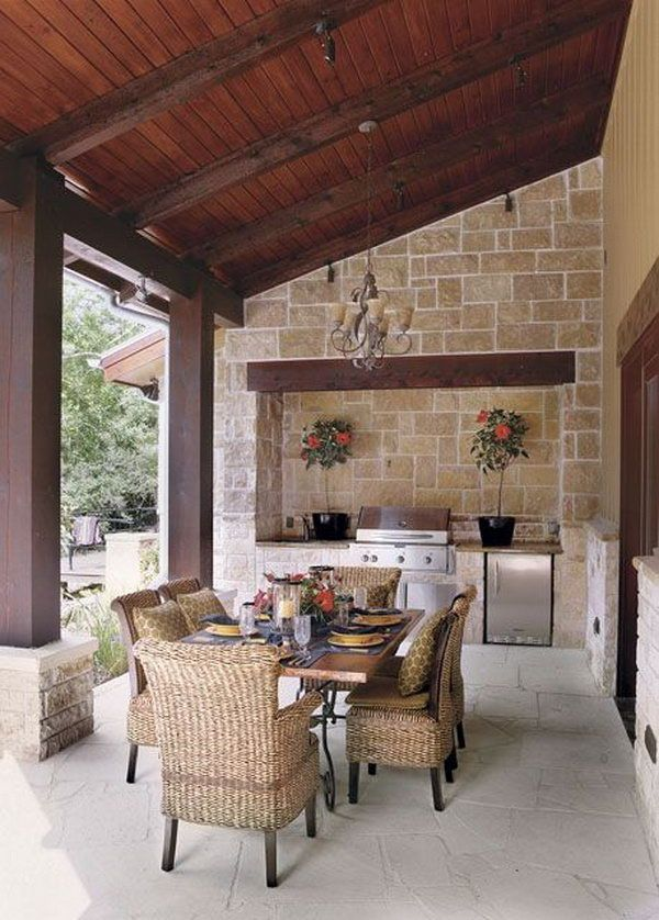 A smart outdoor kitchen should be closed to the house so that it doesn't take you much time and effort to take out your cooking tools.