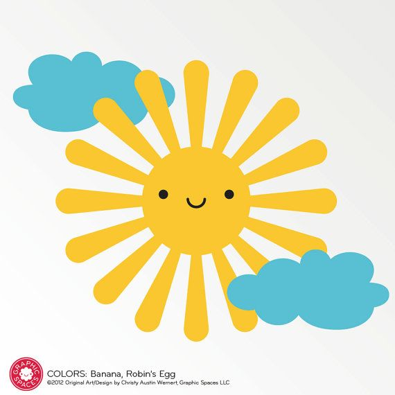 Happy Sun Wall Decal Sticker for Children Baby by graphicspaces on Etsy