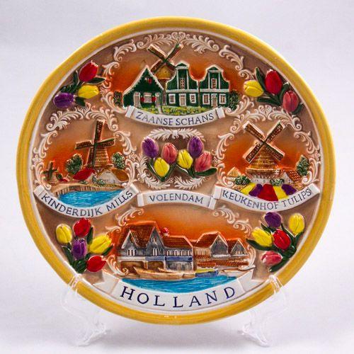 Souvenir Plate: Netherlands. Holland Main Sights: Zaanse Schans, Kinderdijk, Volendam,  Keukenhof (Ceramics, 19 cm)