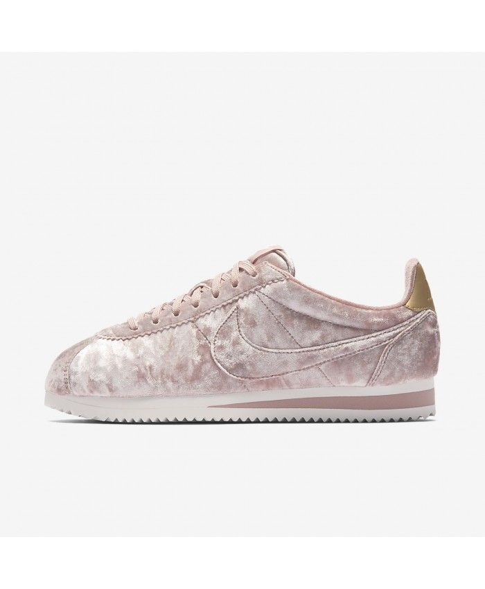 a6ca9edfddcf Nike Cortez Velvet Particle Pink Summit White Metallic Gold Particle Pink  Trainers Outlet UK