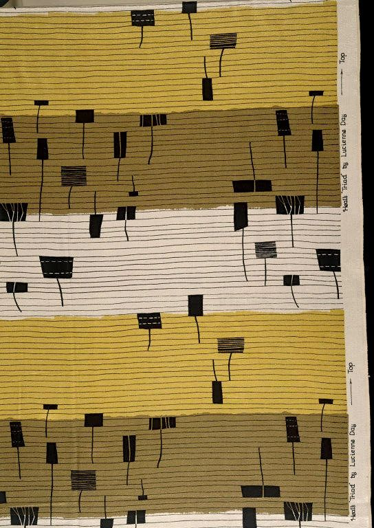 Lucienne Day; 'Triad' Upholstery Textile Design for Heal's, 1955.