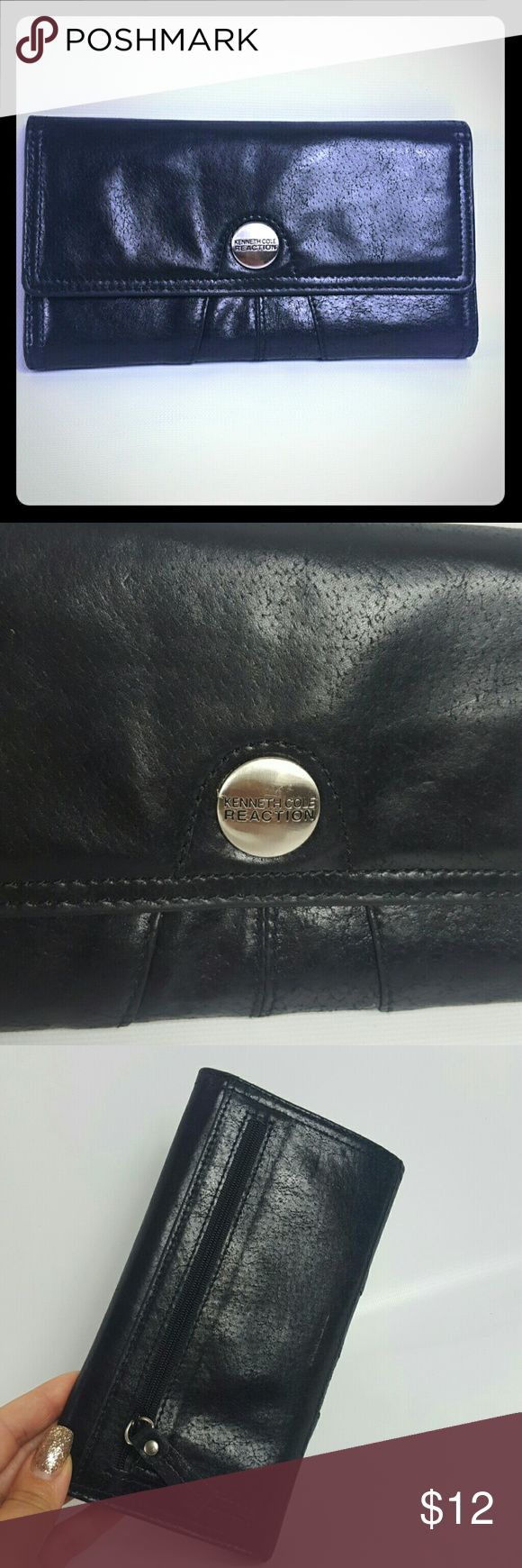 Kenneth Cole Reaction wallet Condition 8 /10, genuine leather wallet, manmade interior, few small cracks inside, check the last picture, many pockets, other than that it's in great shape. Dimensions Height 7', Length 4',if you have any questions or you want to request more pictures, don't hesitate to ask me. Thanks for your time. Have a great day. KISS Kenneth Cole Reaction Bags Wallets