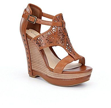 Gianni Bini Rissa Laser-Cut Wedge Sandals