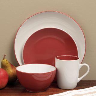 sofia red white 16piece dinnerware set