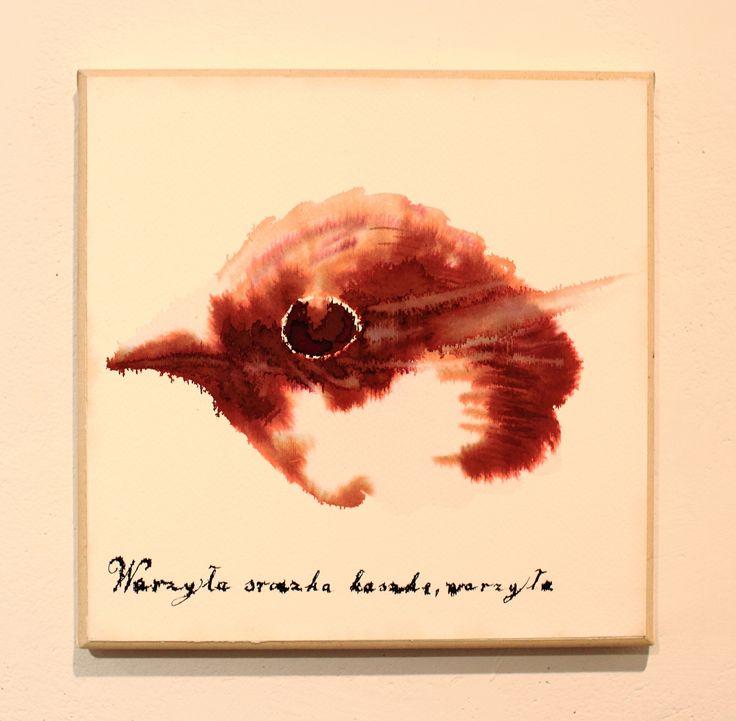 Maciej Olekszy, Bez tytułu ( z cyklu - Walenty Potwora), atrament, papier naklejony na płótnie, 30 x 30 cm, 2013