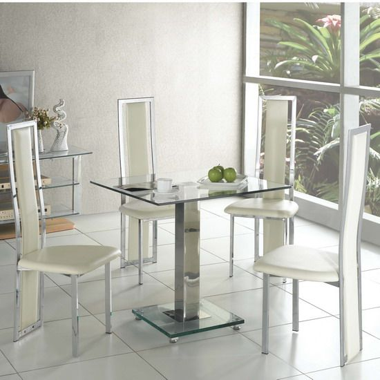 Ice Dining Table Square In Clear Glass With 4 Cream Dining Chair