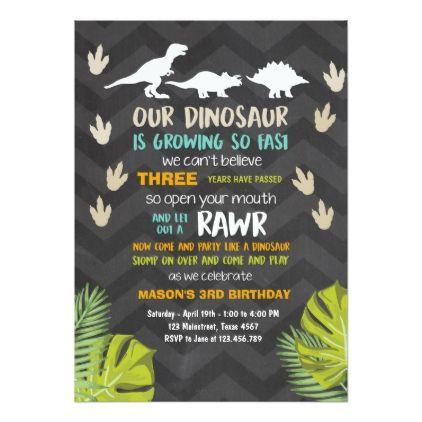 Dinosaur Birthday Invitation Party Chalk