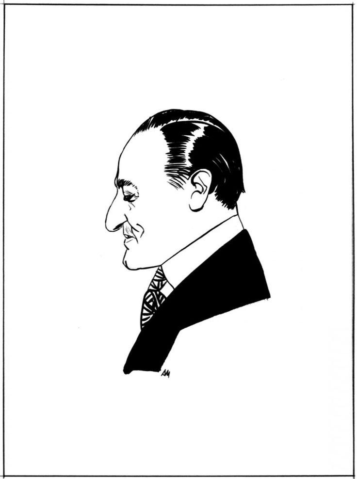 """ritratto pubblicato a pag. 65 de """"Il giornalino"""" n° 20, 1985. Matita e china su carta cm 25x35 (disegno cm 11x12). Firmato con monogramma."""