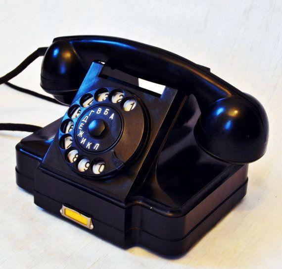 Vintage Rotary Telephone Black Bakelite by SugarAndChaiVintage