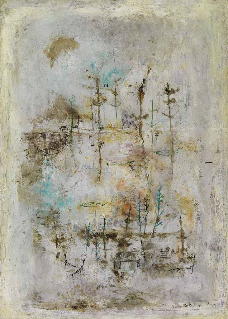 Untitled by ZAO WOU-KI (ZHAO WUJI, French/Chinese, B. 1920) painted in 1950. Oil on panel