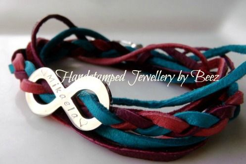 Forever Infinity bracelet – Stainless steel infinity charm in silver, yellow or rose gold finish on coloured leather with sterling silver clasp. Order at www.handstampedbybeez.com