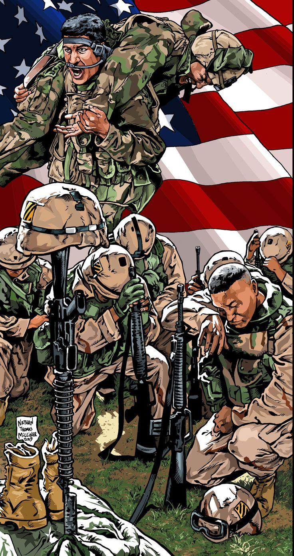 Плакат Фонда памяти павших героев боевых действий в Ираке и Афганистане. Северная Каролина  Художник - Nathan Thomas Milliner