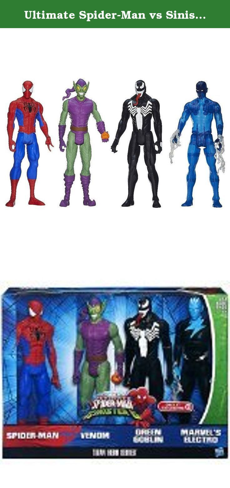 "Ultimate Spider-Man vs Sinister 6 Titan Hero Series Exclusive 12"" Action Figure 4-Pack. Get a superhero showdown with the Spider-Man Vs. Villains Showdown Pack! This 4-pack of Titan Hero Series figures includes 12-inch Spider-Man, Marvels Electro, Venom, and Green Goblin figures. Stage incredible combat between Spider-Man and his foes! Who will win in the end? The outcome of every titanic battle is up to you!."