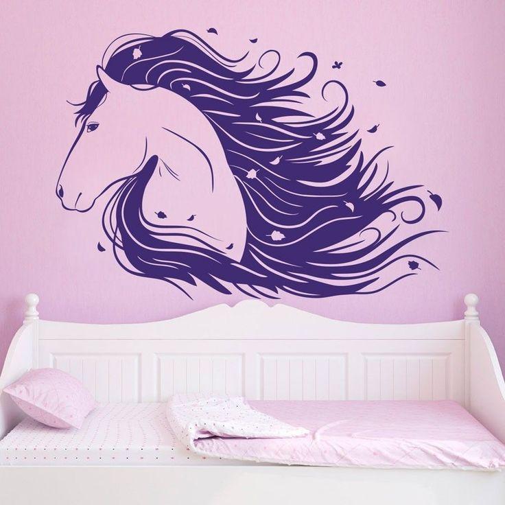 Horse Wall Decal Decor Girls Nursery Room Kids Bedroom Sticker Wall Art Mural #Oracal #AnimalHorses