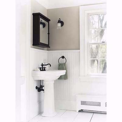 Pedestal Sink Cover : pedestal sink and bead board in bathroom in North Salem, NY --- An old ...