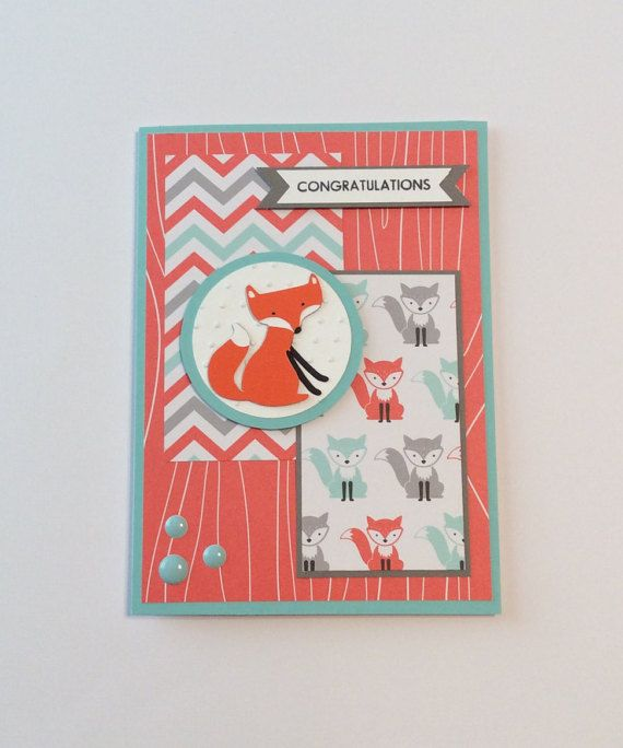 Fox Baby Card/ Congratulations Baby Card/ by ChrisiesCollection