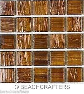 25 - 3/4 inch Amber Gold Veined Glass Mosaic Tiles