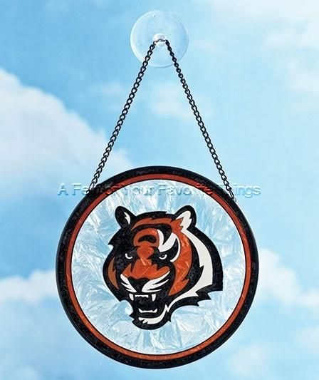 CINCINNATI BENGALS NFL FOOTBALL LOGO ART GLASS SUN CATCHER OUTDOOR HOME  DECOR