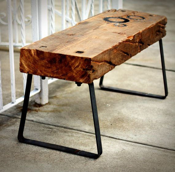 Bench Reclaimed Barn Wood Spruce Raw Steel by IronAndWoodside