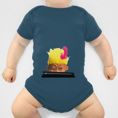 Mad-Eyed Yellow-Haired Mentalembellisher Troll. With a Black Zip. Oh Yes. Onesie by mentalembellisher - $20.00