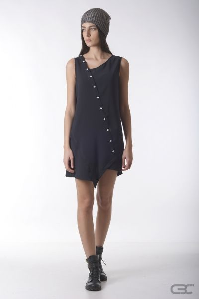 Crepe Black Collar short summer dress with front asymmetry and white buttons, perfect for a night out clubbing or an informal meeting. Check out the online shop for details.