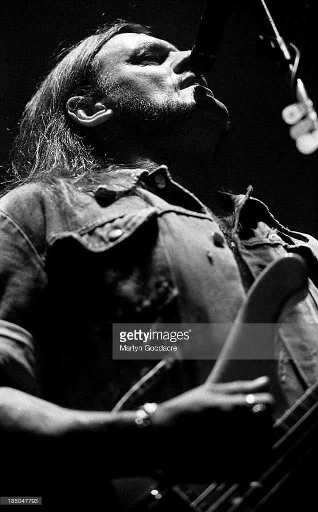Lemmy Kilmister of Motorhead performs on stage in Portsmouth, United Kingdom, 1991. (Photo by Martyn Goodacre/Getty Images)