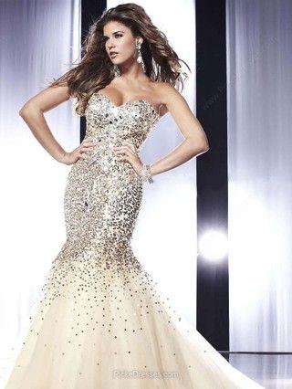 Trumpet/Mermaid Sweetheart Tulle Sweep Train Rhinestone Prom Dresses
