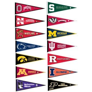Big Ten Conference Pennants consists of all Big Ten Conference school pennants and measure 12x30 inches. All 12 Big 10 Conference teams are included and...
