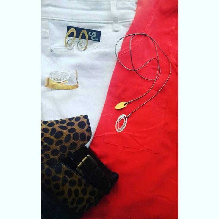 #lookdeldia con los Aretes y collar Caño Cristales acompañados del brazalete Palomino de la colección #Caudal #TaniaRevueltasJoyeria #FiligranaContemporanea #filigree