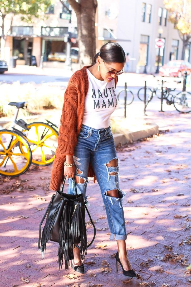 value of my time, haute mama graphic tee, graphic tee, best boyfriend jeans, cardigan and boyfriend jeans, fall transitional outfit, casual weekend outfit, fashion blogger, dallas blogger, black fashion blogger, shin cardigan